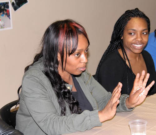 Parents Crystal Jones and Adiaha Leach participate in a panel discussion.