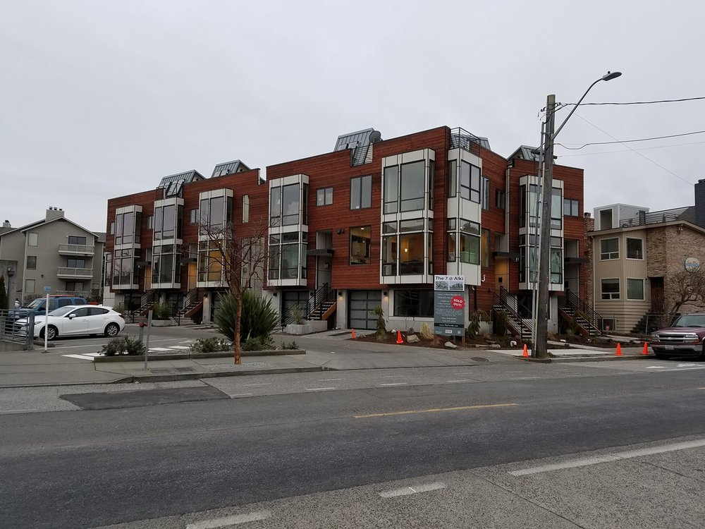 Alki 7 Townhomes from across the street. All units are pre-sold and several buyers have moved in.