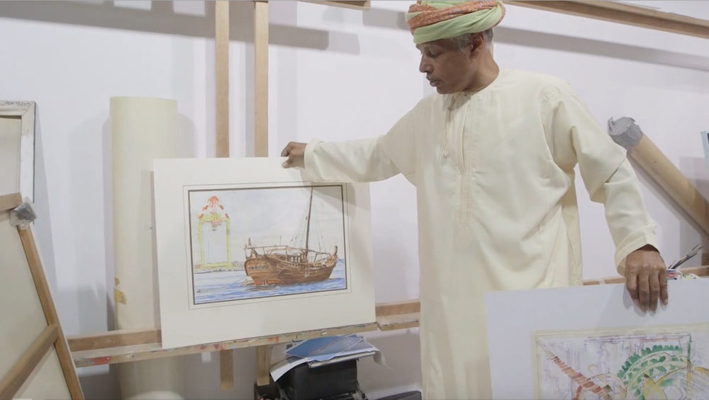Omani visual artist Madny Al Bakry in Arts of the Monsoon. Photo still courtesy of the Smithsonian's National Museum of African Art