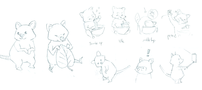 Sketching out various animal poses including a Quokka, which didn't make it in the final version :(