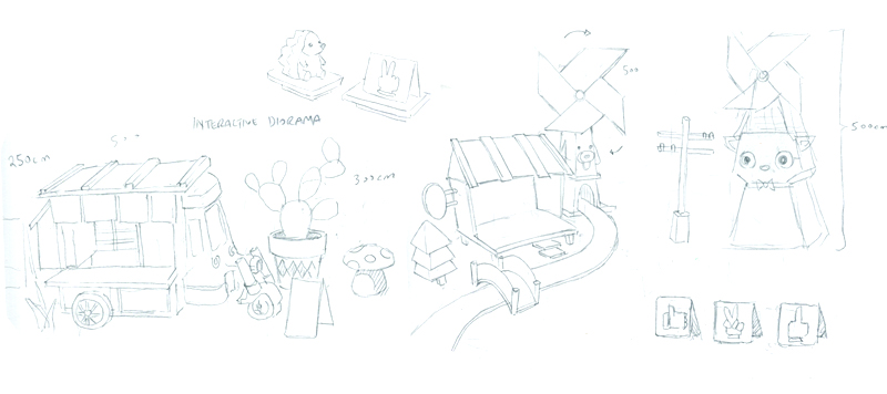 Various sketches of background objects.