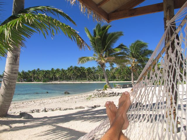 Kicking back at the terminal, Aitutaki Airport, Cook Islands