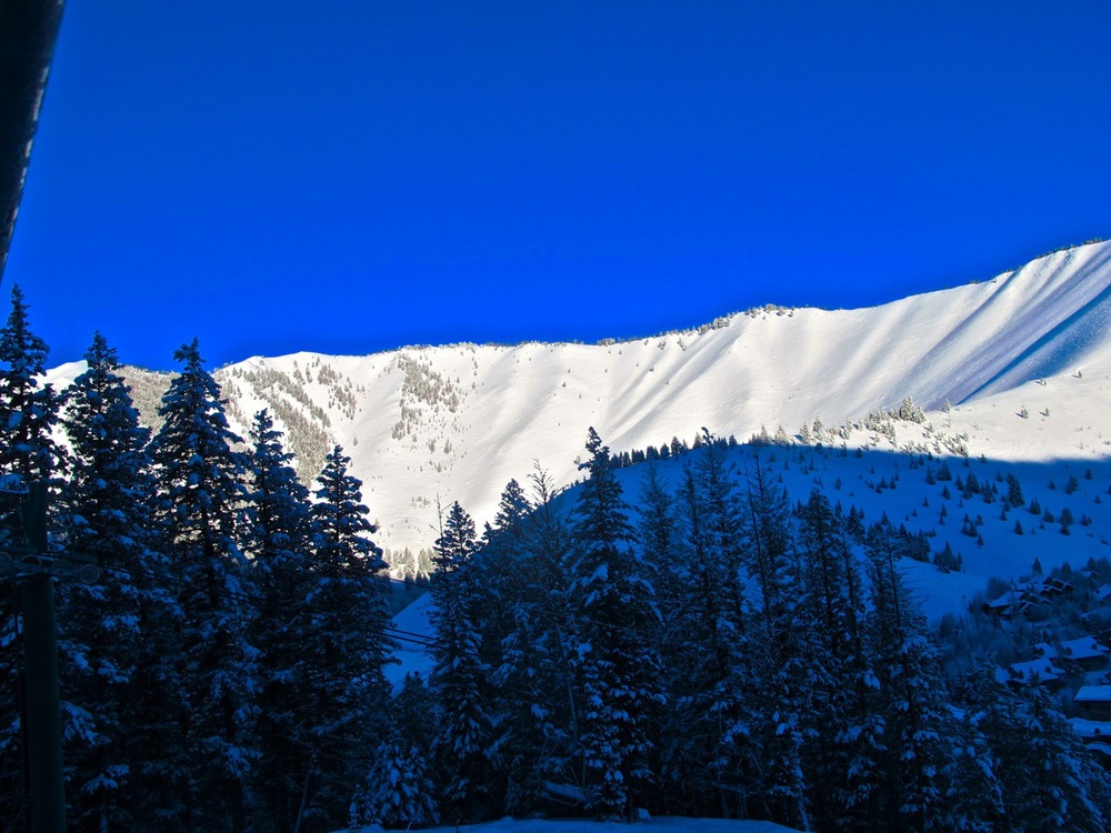 The bowls on a bluebird powder day, Sun Valley, Idaho