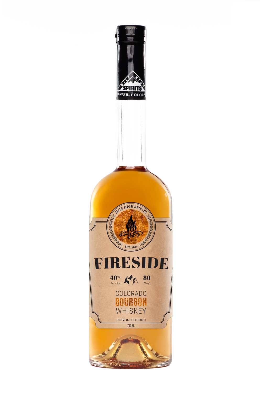 Fireside Bourbon Fireside is a full body robust Bourbon that we prefer sipped from a game-day flask, poured in a buddy's glass, or served fireside amongst good friends and old stories. Smooth, but robust from aging, every taste stays true to barrels of white oak and the promise of perfection in a Colorado Bourbon.