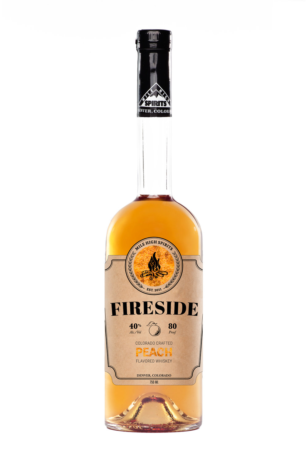 "Fireside Peach All-natural peach flavor compliments the smooth, smoky profile of our flagship Fireside brand. Subtle Palisade peach notes on the nose and back of your pallet make this ""the flavored whiskey for the serious whiskey drinker""."