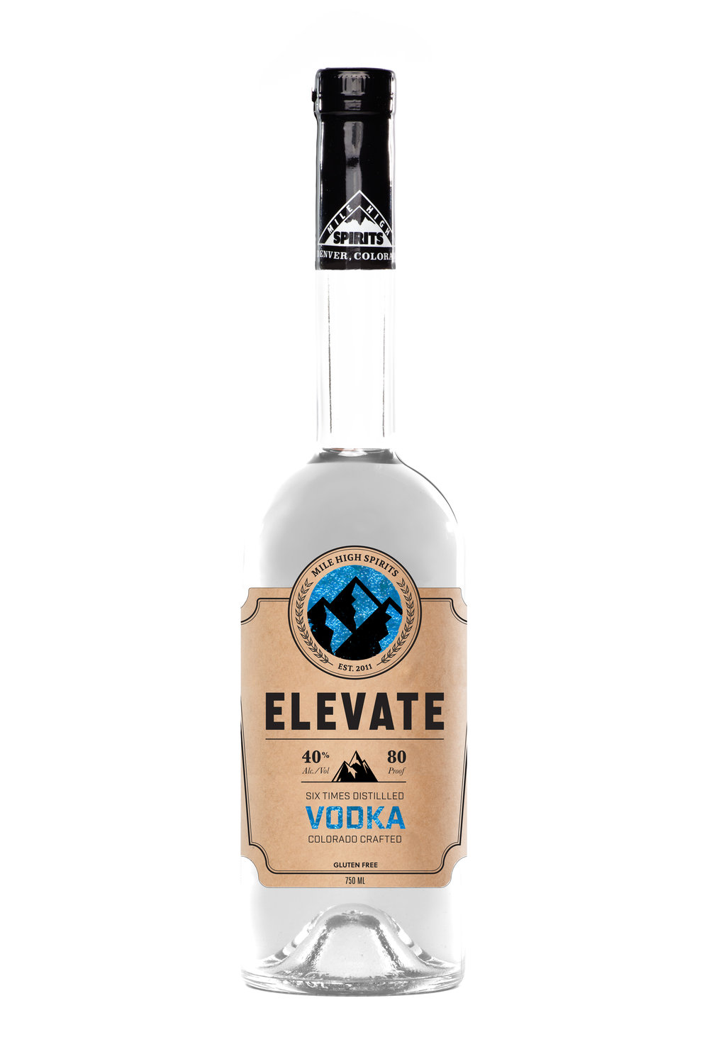 Elevate Vodka Boasting one of the cleanest finishes in the modern vodka realm, Elevate's six-time distillation process offers a product that is incomparable to any other brand on the market. Using one of the only glass stills in the world, Elevate Vodka claims an unrivaled answer to the question of a perfect martini. Rocky Mountain H2O ensures unparalleled standards in water.