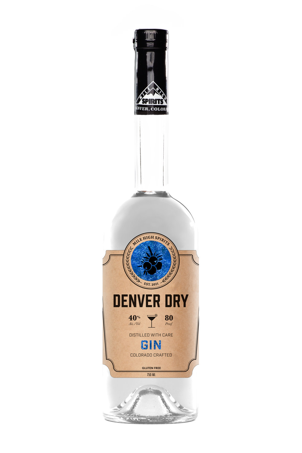 Denver Dry Gin Denver Dry brilliantly combines over three centuries of tradition to deliver something truly remarkable. Paying homage to traditional London Dry Gins, Denver Dry puts forward a complex pallet of Juniper, Citrus, Coriander, and Grains of Paradise. Classic to the bone, perfect for citrus inspired cocktails, this refreshing gin will satisfy any Gin lovers palate.