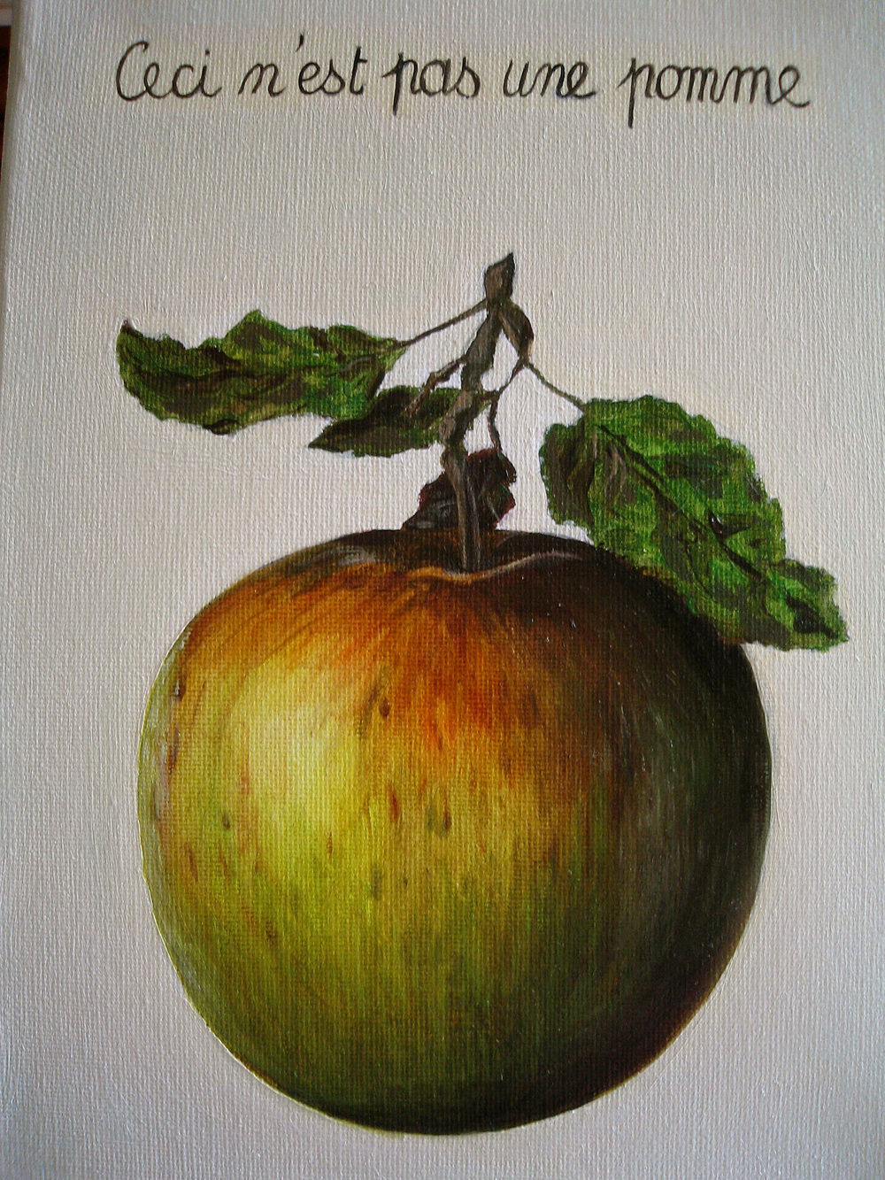 This is a picturepainting of an appleberry that says it is not an appleberry!! Artsyfartsy!!
