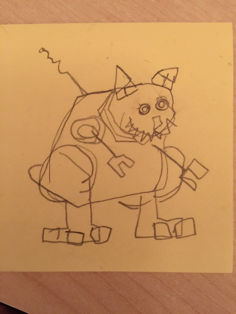 Archie's sketch of a robot bear.