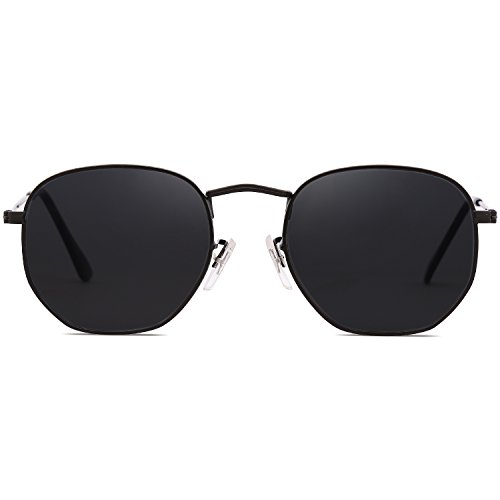 115d0f7103 SOJOS Small Square Polarized Sunglasses for Men and Women Polygon Mirrored  Lens SJ1072 https