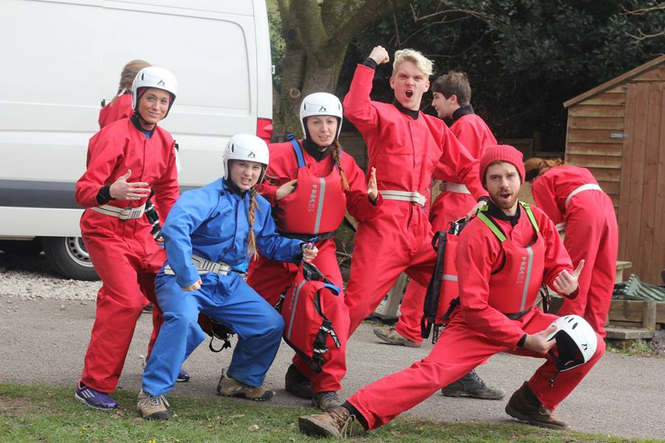 My friends and I from Harlaxton College about to go Ghyll Scrambling in the Lake District of England