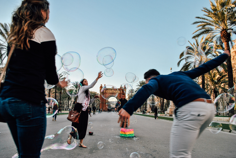Chasing bubbles like kids in Barcelona!
