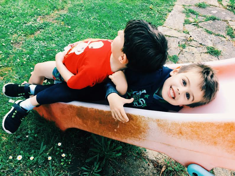 These two boys are first cousins and are like two peas in a pod. The one smiling at the camera is Jaime.