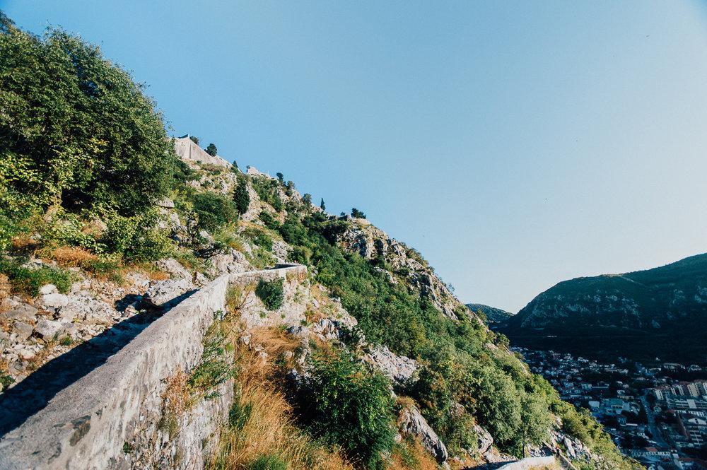 Walking up a mountainside. Taking a sweaty break.