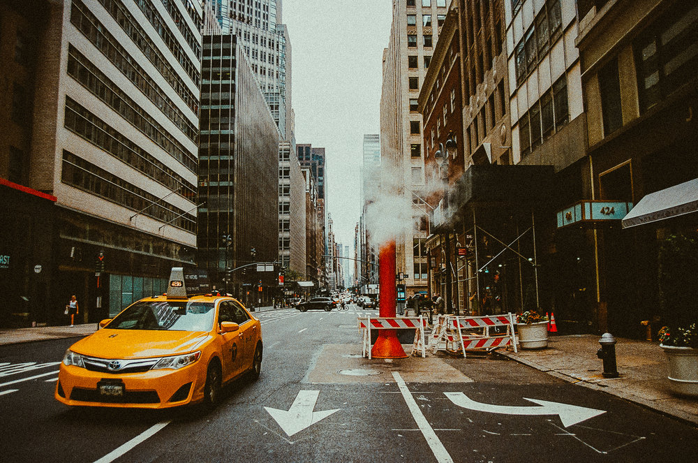 Classic NYC rain + steam photo