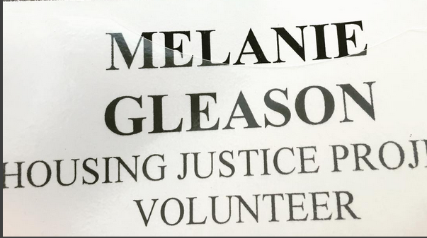 My volunteer badge for the Housing justice Project in Kent, Washington