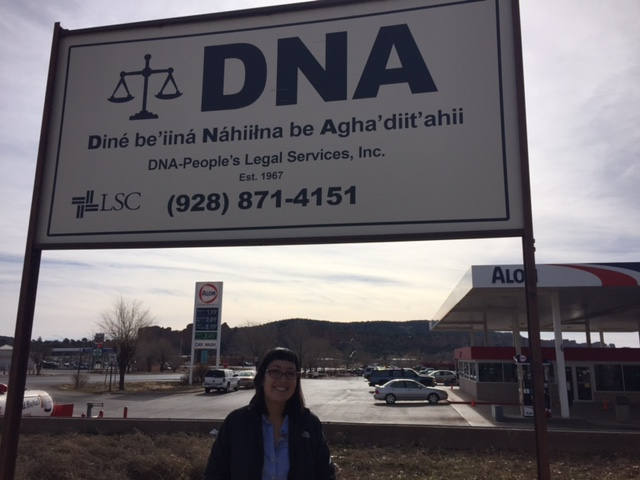 Outside of the DNA Legal sign in Window Rock, Arizona