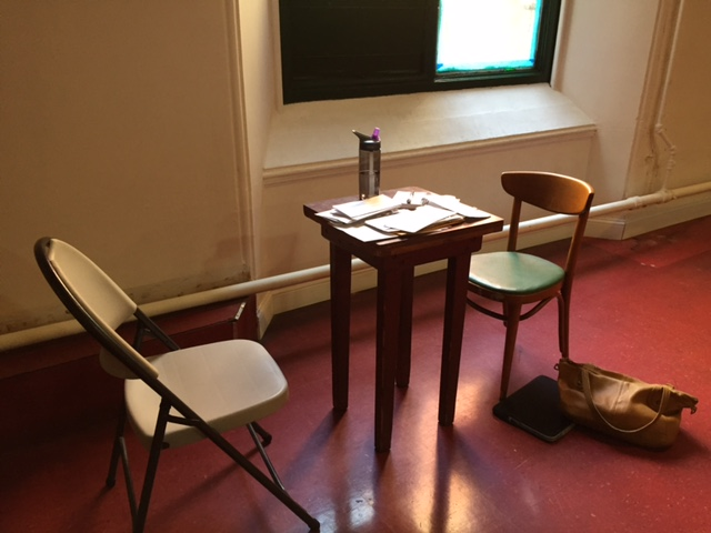 My humble little office at immigration legal clinic at St. Luke's on E 138th that I am running every Friday -- with a very, very small table. :)