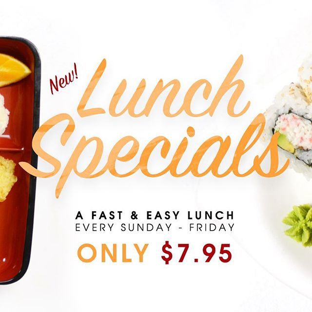 🍱 New Lunch Specials! 🍣 Enjoy a fast & easy lunch at Shiki for only $7.95. Available during every lunch! #orangecounty #OC #lunchtime #japanesecuisine
