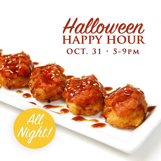 On #Halloween night we'll be serving our #HappyHour menu all night! Get ready for a special treat for those who dress up... Kids welcome, as always! #oc #orangecounty #oceats #ocfoodie #shikioforange