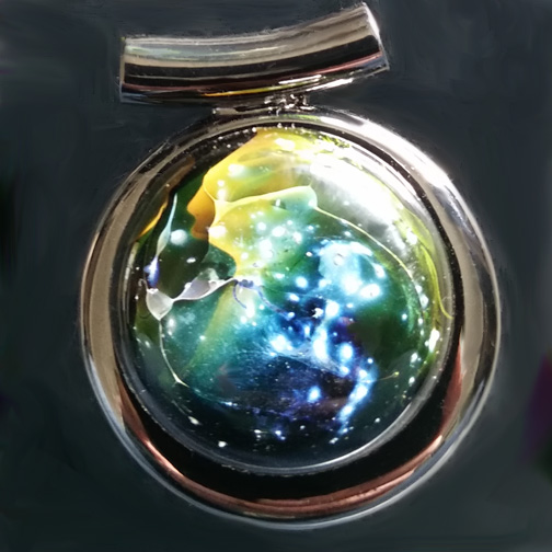 Silver Galaxy pendant with Horizon style backing.