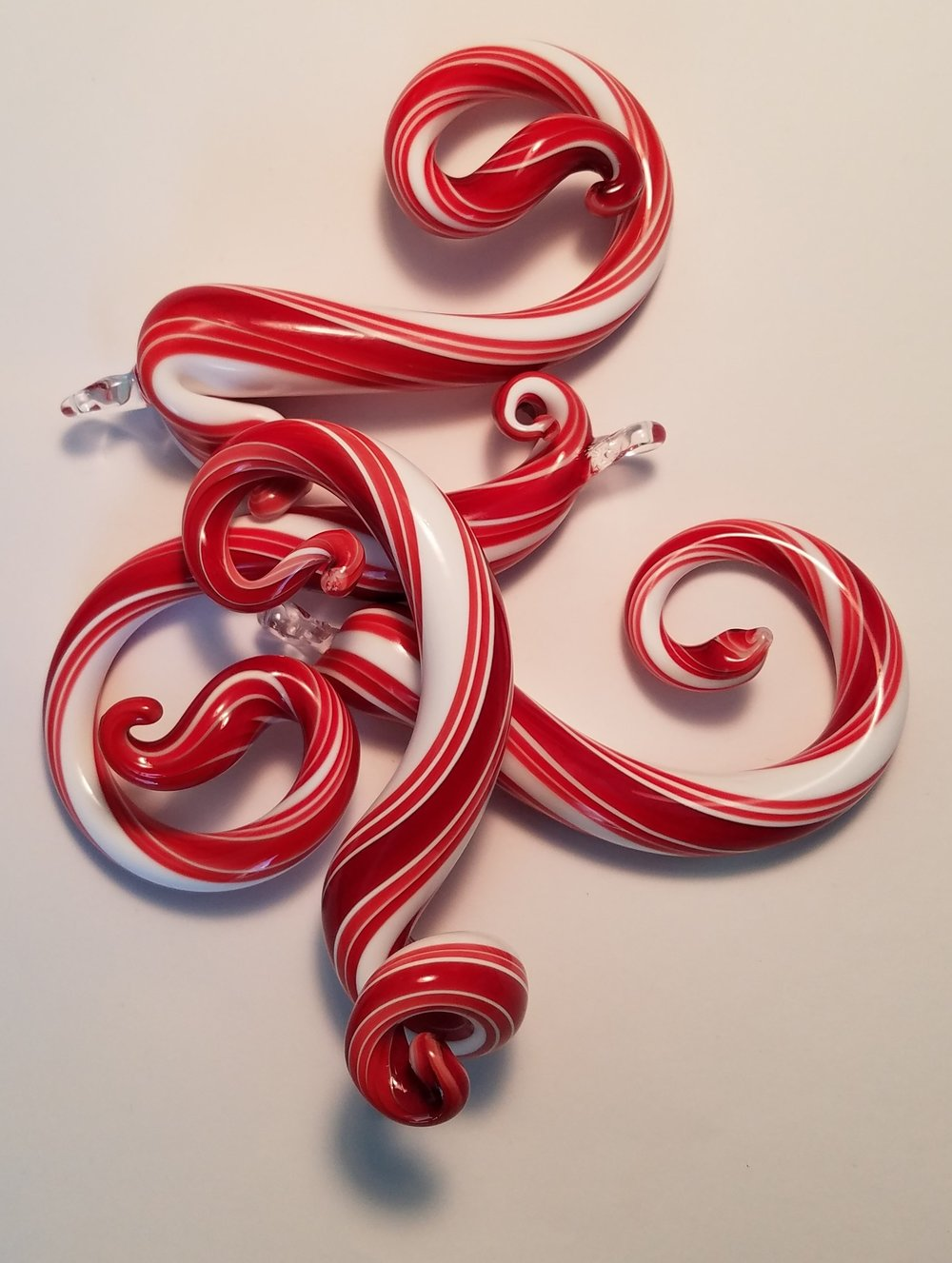 Candy Cane Curls - hollow glass holiday ornaments