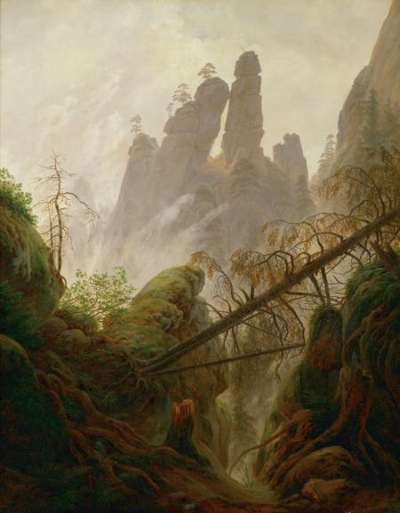 """Friedrich, Caspar David. Felsenlandschaft im Elbsandsteingebirge (""""Rocky Ravine""""). 1822 - 23. Kunsthistorisches Museum, Vienna."""