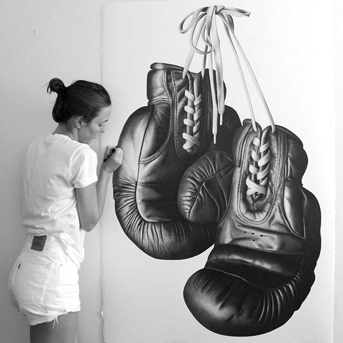 CJ Hendry completing her ink-drawn boxing gloves. (Image:  The Cool Hunter )
