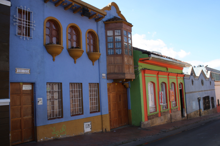 Dwellings and shops along a street on the outskirts of La Candelaria Neighborhood in Bogota, Colombia