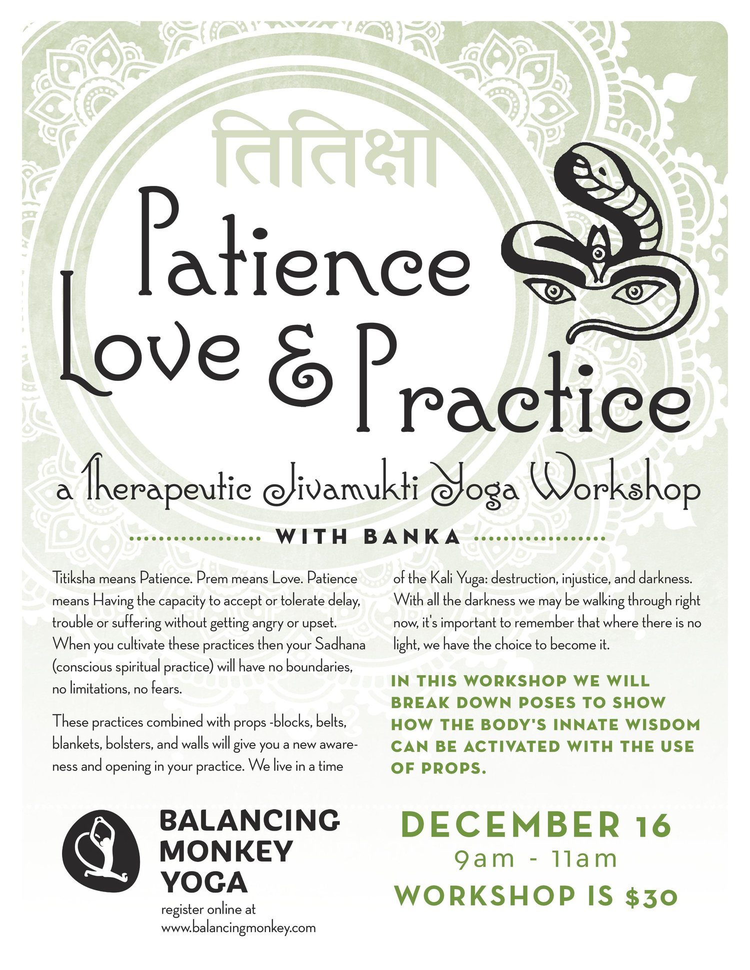 patience, love, and practice: a therapeutic jivamukti yoga workshop