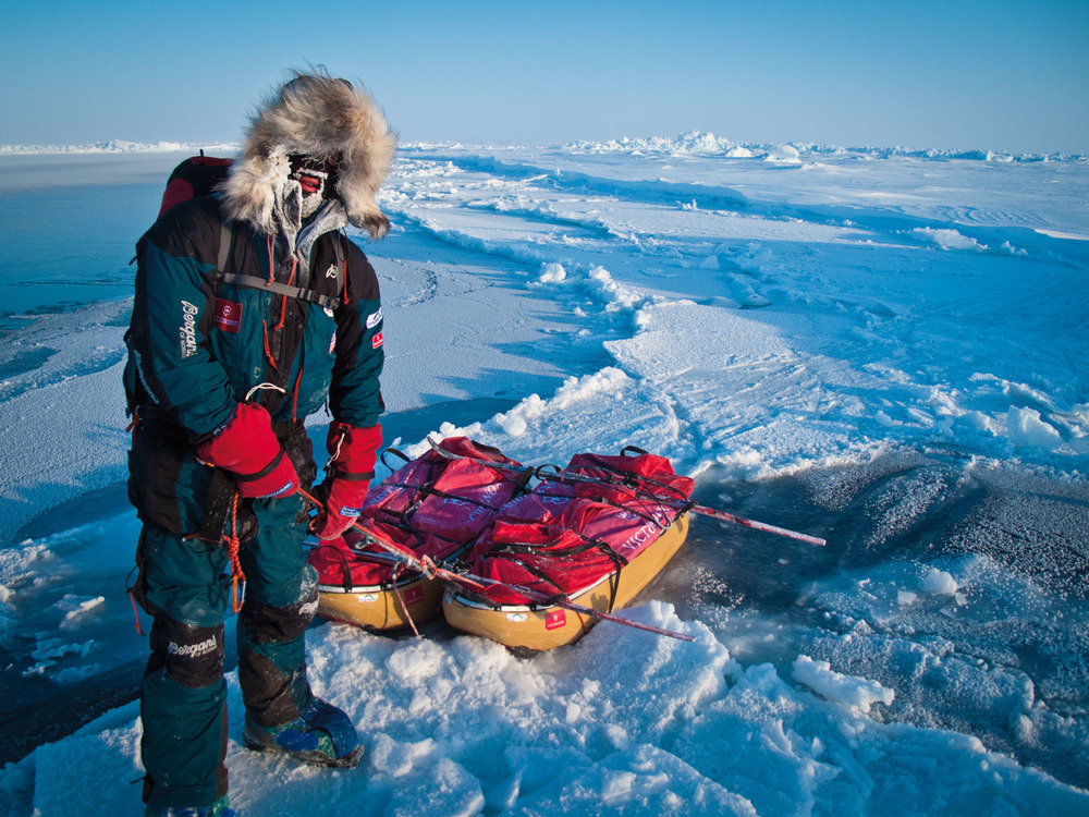 John Huston along a partially frozen lead on the way to the North Pole. @ johnhuston.com