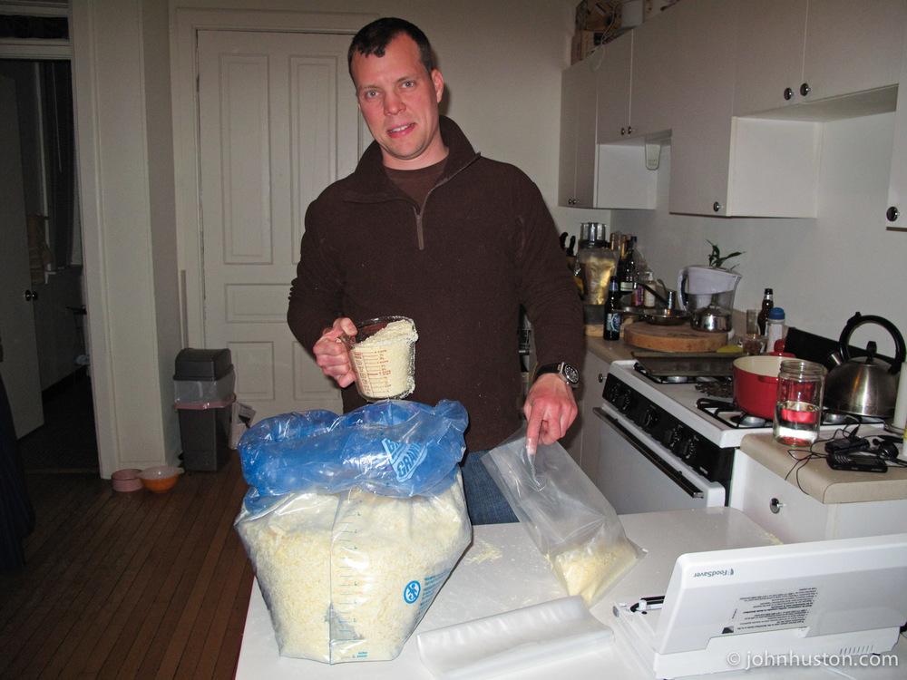 John packs cheese.