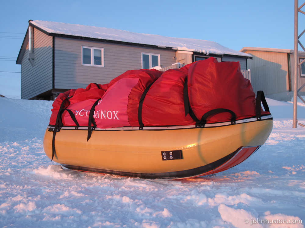 The first look at our expedition sled. We talk nicely to our sleds!