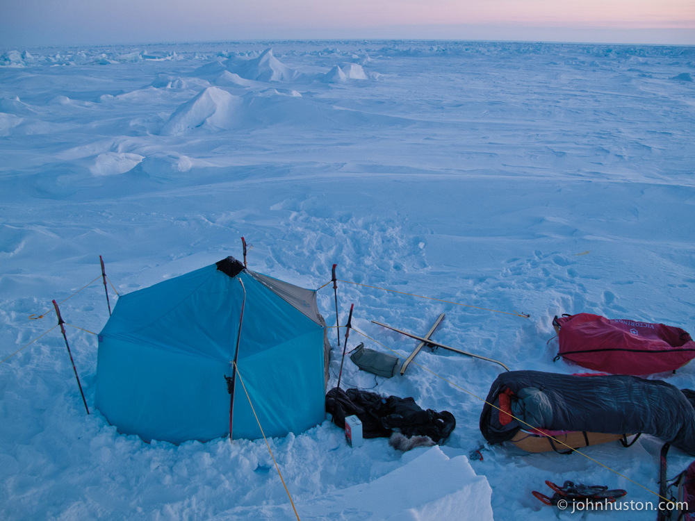 Camped on a bit of old ice, surrounded by new ice.