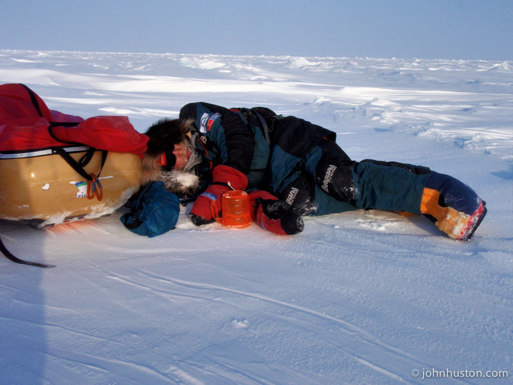 Tyler Fish 5 miles from the pole,exhausted and nauseated.