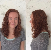 Ouidad carve and slice on beautiful red hair