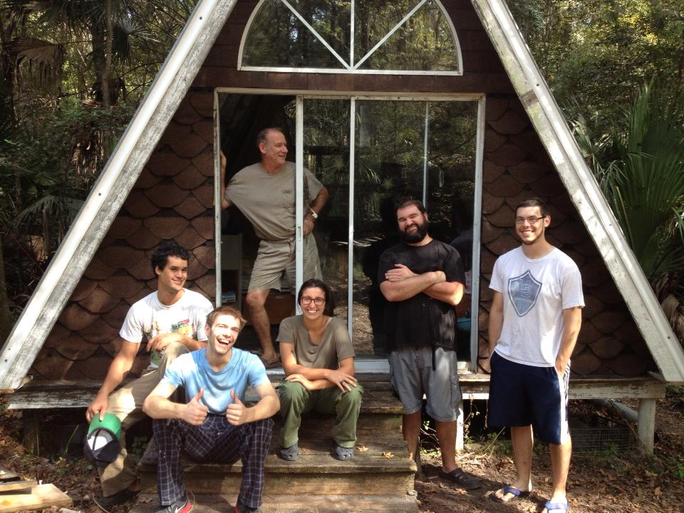 Volunteers with the newly completed a-frame.