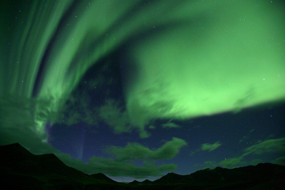 Northern Lights over the Mackenzie Mountains, Northwest Territories