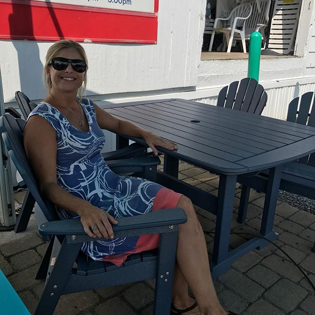 "This is too much fun! Do we notice a pattern? Slate blue classic dining chair and 42 x 56 table by #SeasideCasual #20yearwarranty #madefrommilkbottles #madeintheusa I call this chair the ""eating"" chair. It sits upright for dining. Not to be confused with the ""drinking"" chair that sits a little lower and more relaxed."