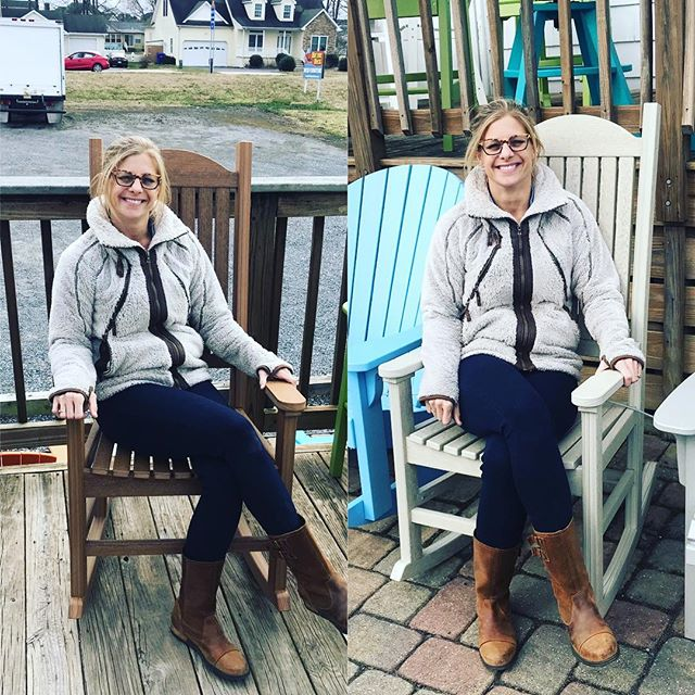 So it's about that time again... matching the chairs! Do you like the lighter Natural Birch or the darker Antique Mahogany? These look like real wood but made from 100% recycled Milk bottles! #madeintheusa