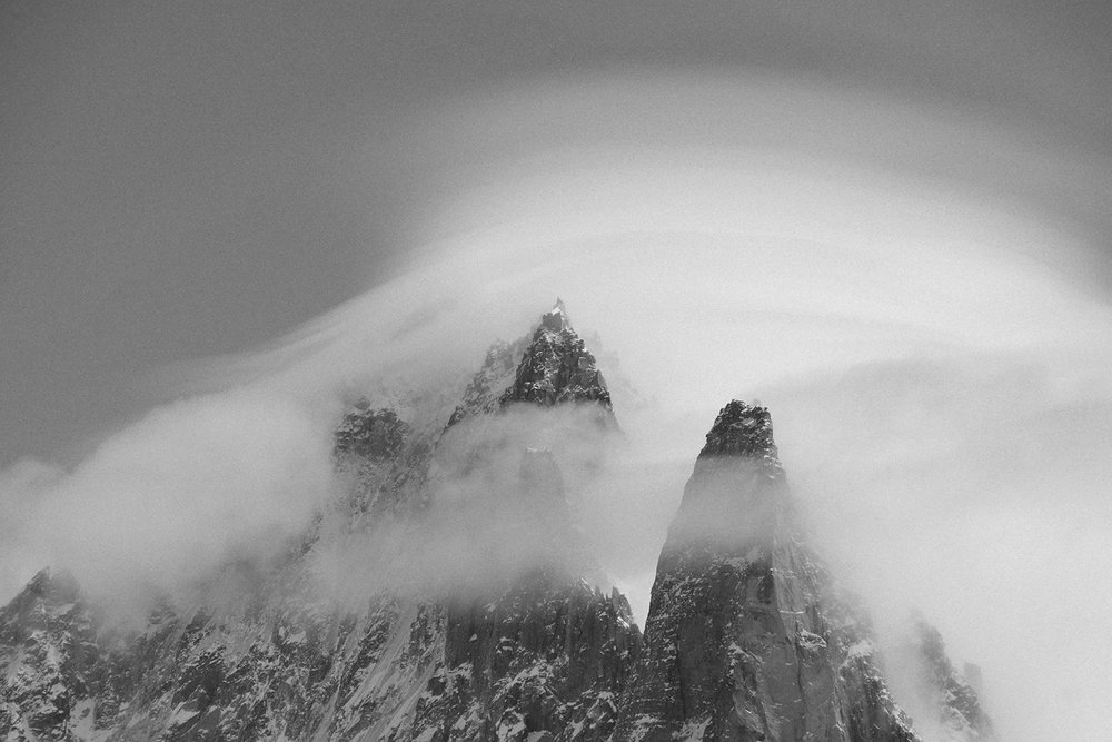 Mont Blanc massive with clouds