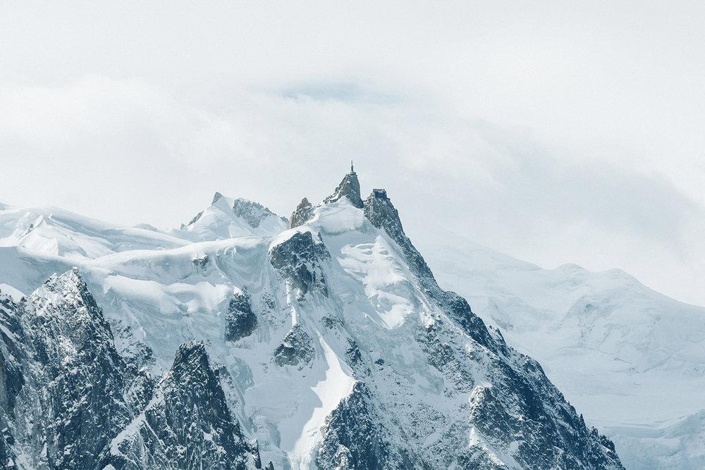 Mont Blanc Aiguille du Midi with clouds