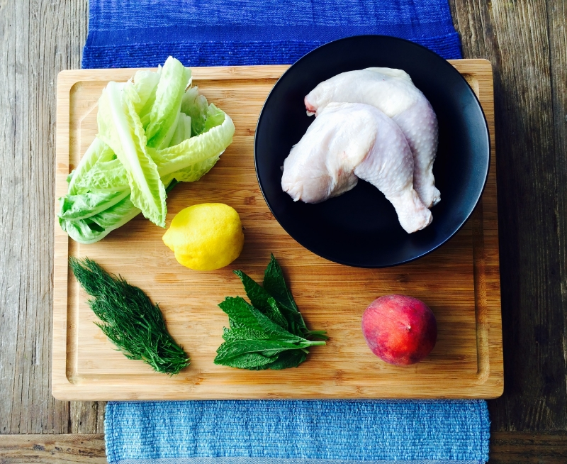Mise en Place / Roasted Chicken Legs, Peach Summer Herb Salad © Chef Jöne Pan