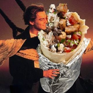 Leonardo DiCaprio caressing a burrito.... And we are open.  CLOSING AFTER THIS WEEKEND SO COME GET YOUR FILL BEFORE ITS TOO LATE! #open #rockawaybeach #ridetheburrito #lastdays  #coffee