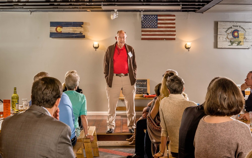 Bestselling author Stephen Coonts addresses the gathering at the annual Clara Barton Donor Reception hosted by the Southeast Colorado Chapter of the American Red Cross.