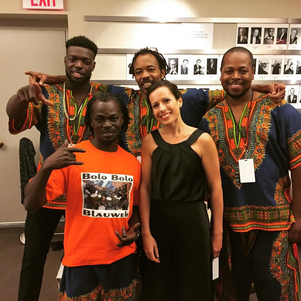 with  Bolo Bolo Blauweh  drum ensemble. Lincoln Center, 2015  (Conductor)