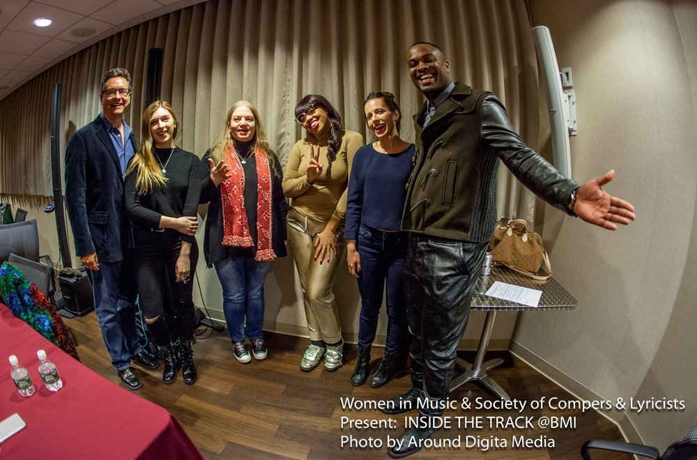 Moderating  a panel at BMI with songwriters Verite, Corey Gibson, Suzi Analogue, and mix engineer Ann Micielli and the SCL's Greg Pliska, 2017