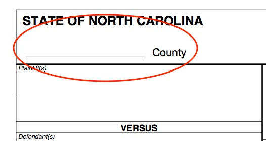 First, fill in the county where the lawsuit was filed.