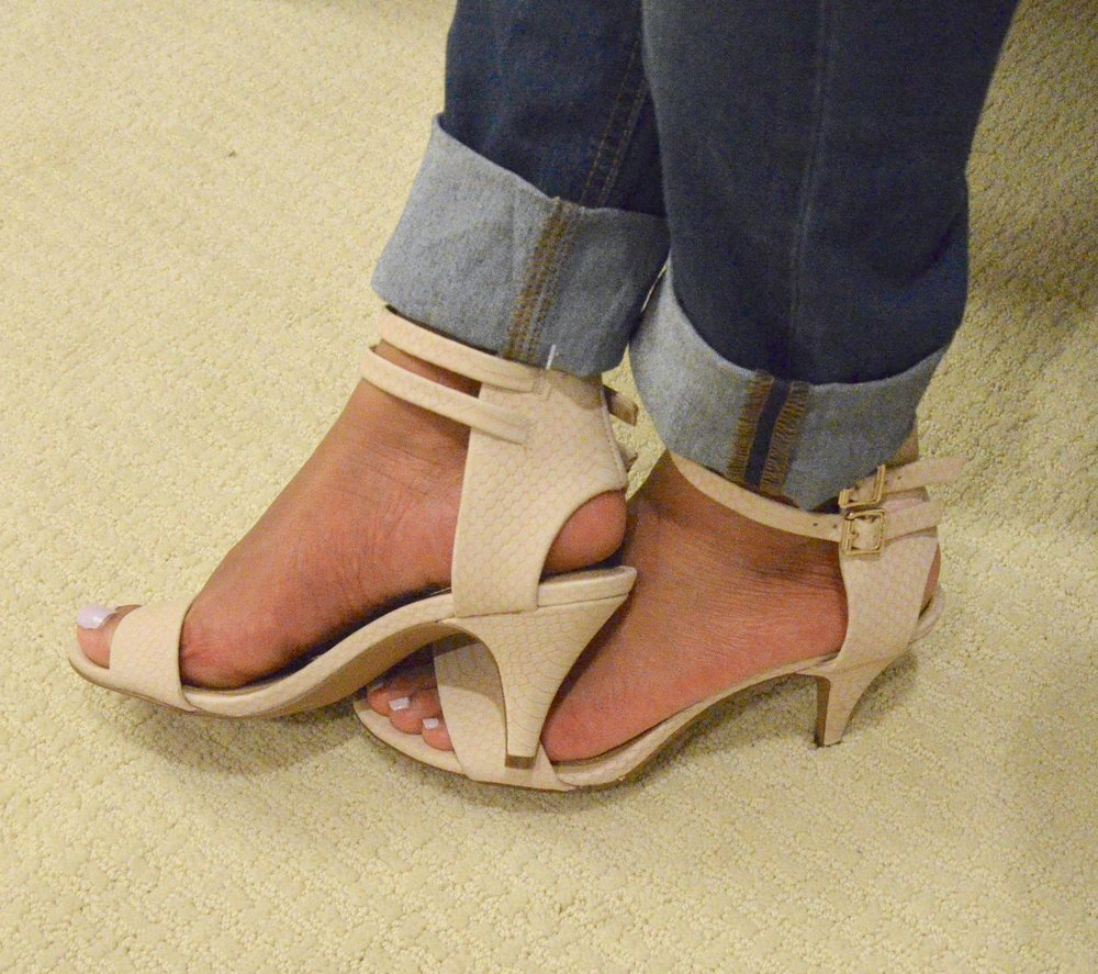 Vince Camuto sandals - The subtle detail on the leather, the gold buckles, and the low heel make these perfect day-to-night shoes!