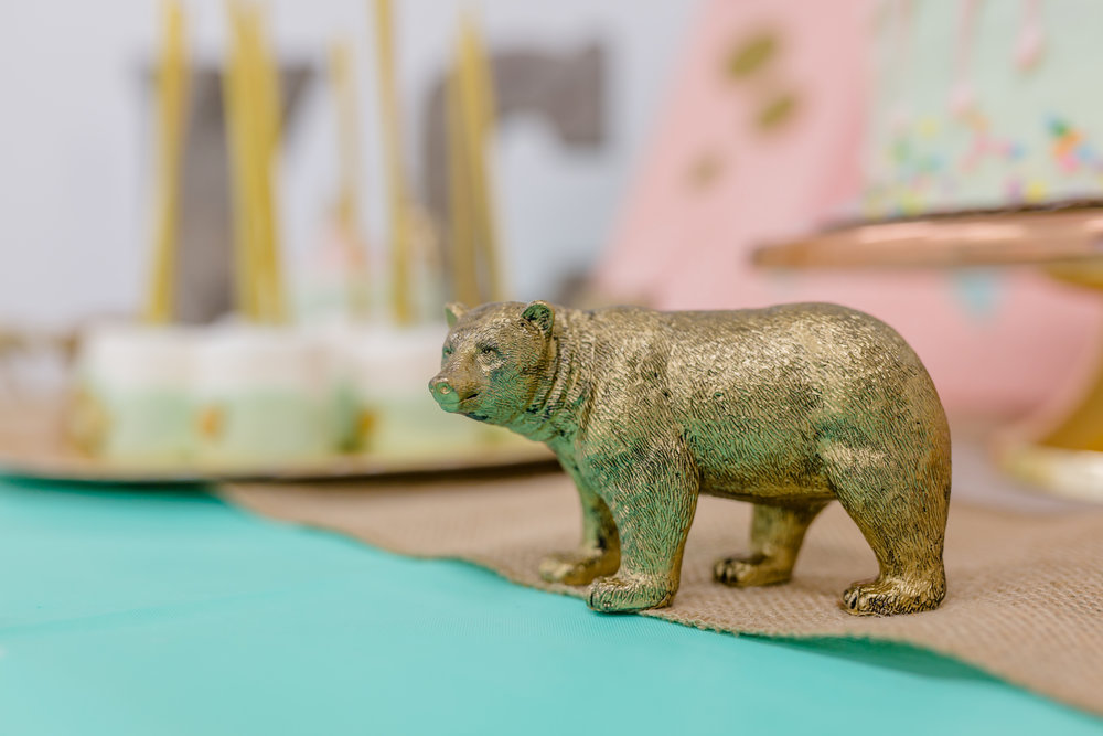 I bought toy animals at Target and painted them gold to decorate the table.